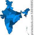 Blue outline India map on white background.  56640665