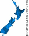Blue outline New Zealand map on white background. 56640666