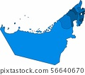 Blue outline United Arab Emirate map. 56640670