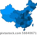 Blue outline China map on white background.  56640671