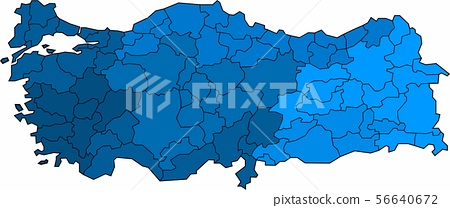 Blue outline Turkey map on white background. 56640672