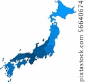 Blue outline Japan map on white background. 56640674