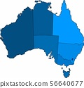 Blue outline Australia map on white background. 56640677