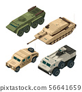 Vector isometric pictures set of different military vehicles isolate on white 56641659