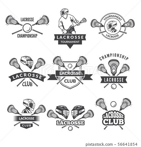 Vector logos or labels for lacrosse team in sport college 56641854