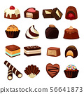 Chocolate desserts. Illustrations of sweets and candy 56641873