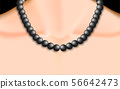 black pearl necklace on neck of women 56642473