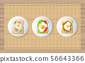 egg and avocado on toast in the white plate 56643366