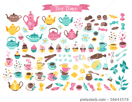 tea time objects isolated 56643578