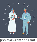 Bride and groom. Couple on dark. 56643800