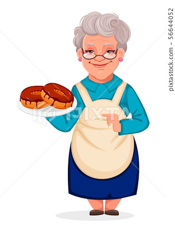 Grandmother holds plate with croissants 56644052
