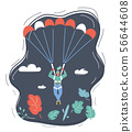 Businesswoman with parachute in the sky. 56644608