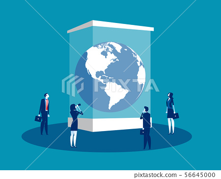 Globe in a museum glass box. Concept business 56645000