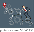 Businessman running with high graph 56645151