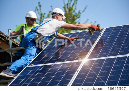 Stand-alone exterior solar panel system installation, renewable green energy generation concept. 56645597