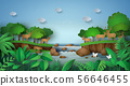 Deer in the forest with a waterfall. 56646455
