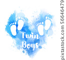 Blue watercolor heart with baby footprints 56646479