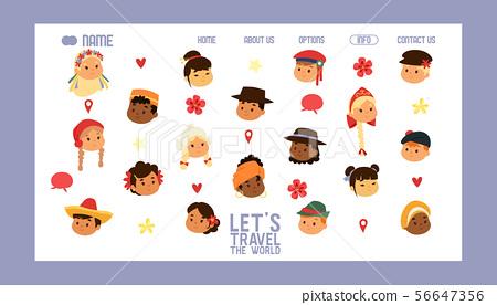 Children nationalities banner website vector illustration. Let s travel world. Kids characters in 56647356