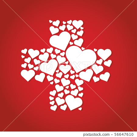hearts in cross medical shape hospital icon 56647610