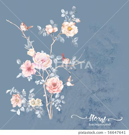 美麗優雅的水彩花卉和海報設計 56647641