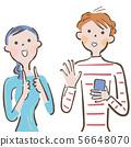 溝通與手勢語和智能手機例證的夫婦 56648070