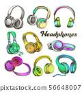 Color Different Sides Headphones Set Vector 56648097