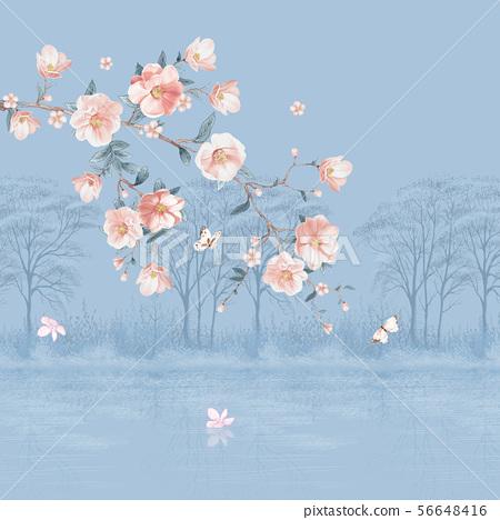 손으로 그린 수채화 꽃 56648416