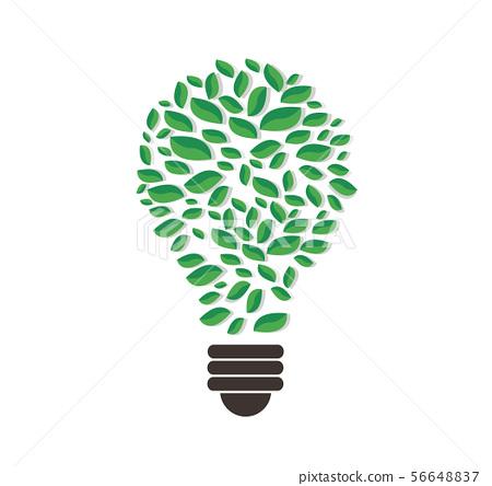 green leafs in light bulb shape vector 56648837