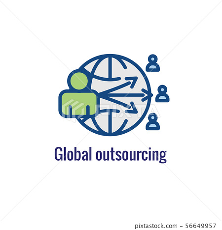 In-Company and Outsource Icon with freelancing or 56649957