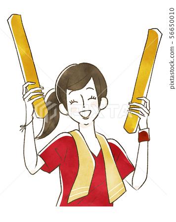 스포츠 경기 관람 - 응원하는 여성 56650010
