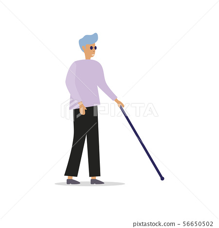 Blind man with stick and black glasses 56650502