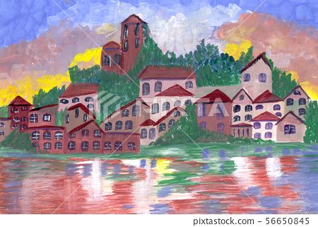 Beautiful illustration with house, sea, mountains 56650845