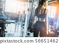 Young girl playing dumbbell in gym 56651462