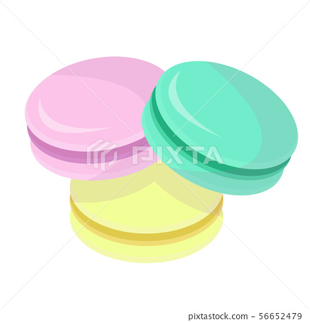 Cute three colored macarons 56652479