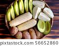 food tray vegetarian, sweet potato, avocado, guava 56652860
