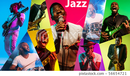 Young african-american jazz musicians in creative collage 56654721
