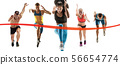 Creative collage of runners or joggers on white background 56654774