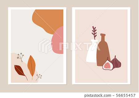 Trendy set of fall greeting cards, invitations. Fig fruit, colorful autumn leaves and vase. Abstract 56655457