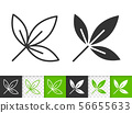 Green leaf of tree simple black line vector icon 56655633