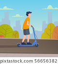 Young man riding electric scooter. 56656382