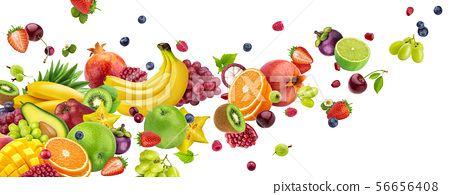 Flying fruits and berries isolated on white background 56656408