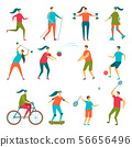 People doing sport exercises set 56656496