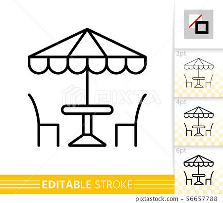 Street Cafe umbrella table chair line vector icon 56657788