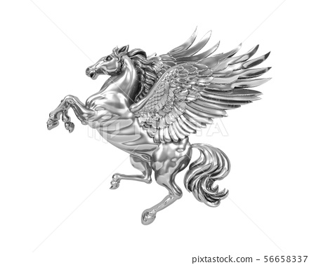 Silver flying horse Pegasus (with clipping path) 56658337
