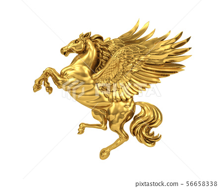 Golden flying horse Pegasus (with clipping path) 56658338