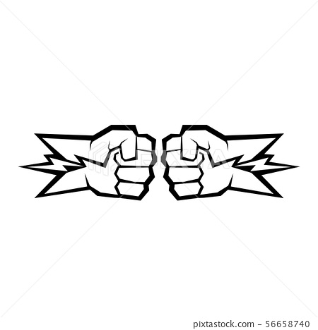 Two clenched fists bumping. Conflict, protest, brotherhood or clash concept vector illustration 56658740