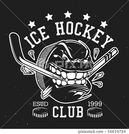Ice hockey puck with teeth and stick, club sign 56659784