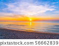 Beautiful outdoor tropical nature landscape of sea beach at sunrise or sunset time 56662839