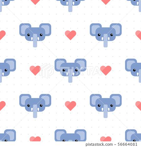 Cute elephant head cartoon doodle seamless pattern 56664081