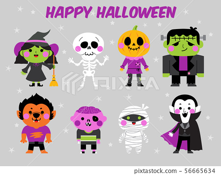 happy halloween character illustration set 56665634
